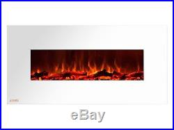 Ignis Royal White 50 inch Wall / Recessed Mount Electric Fireplace with Logs