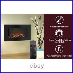In Wall Mount Electric Fireplace Electronic Flat Panel Realistic Logs Black