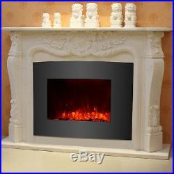 Insert Wall Mount Free Standing Electric Fireplace Heater Cobblestone Fire
