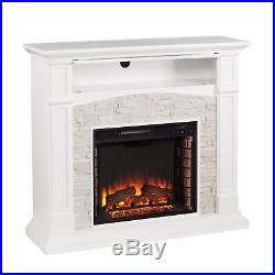 Jfp26539 White With Fauxed Stone Electric Fireplace With Remote