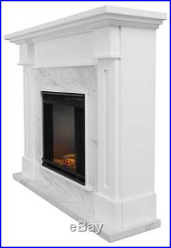 Kipling Electric Fireplace in White with Faux Marble ID 3710257