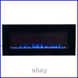 LED Electric Fireplace Fire Place Heater Fire Ice Wall Mount Remote 42 In Black