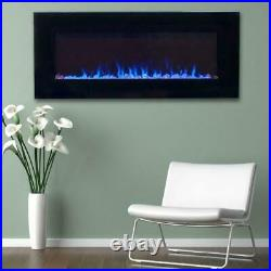 LED Fire/Ice Electric Fireplace, Remote, Black 42 in. Flame Heater Entertainment