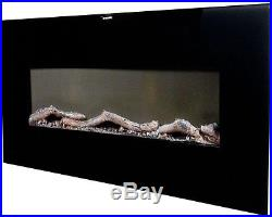 Large Wall Mount Electric Fireplace Modern Slim Heater Glass Remote Control Wide