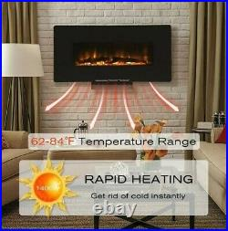 Log Flame remote 36in Wall Mounted Heater Electric Fireplace with Remote Black