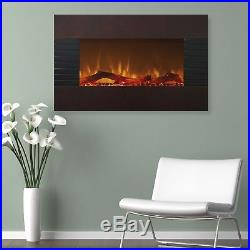 Mahogany Electric Fireplace with Wall Mount & Floor Stand Remote 35 x 24 Inches