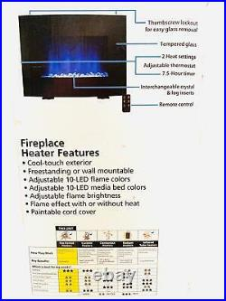 Mainstays Freestanding or Wall Mounted Electric Fireplace Heater, Black Finish