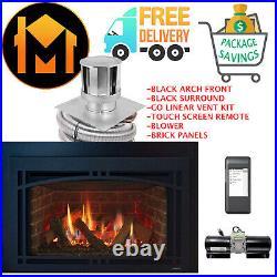 Majestic Ruby 35 Insert Fireplace COMLETE PACKAGE Vent Kit Panels Black Arch