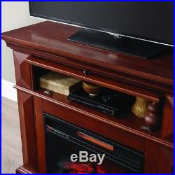 Mantel Infrared Electric Fireplace TV Stand Media Console Heater Blower Cherry