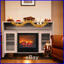 Media Fireplace TV Stand 43 Entertainment Storage Wood Console Electric Heater