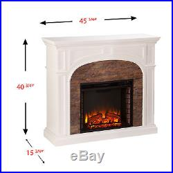 Mef42069 White Stacked Stone Effect Electric Fireplace With Remote