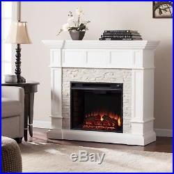 Mef83069 White Stacked Stone Convertible Electric Fireplace With Remote
