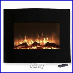 Mini Curved Black Fireplace Wall Mount & Floor Stand 25 x 20 Inches Remote
