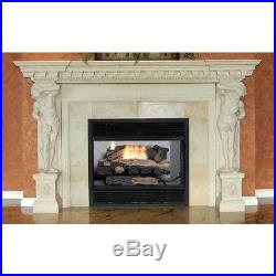 Natural Gas Fireplace Insert Fake Faux Logs Ventless Thermostat 24 inch Heater