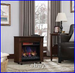 New ChimneyFree Rolling Mantel, Infrared Quartz Electric Fireplace Space Heater