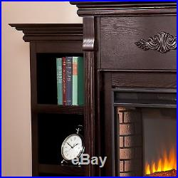 New Electric Fireplace Heater + Mantle & Bookcases Firebox Rich Espresso Finish