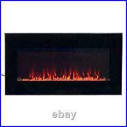 Northwest 36 in. LED Fire and Ice Electric Fireplace with Remote in Black