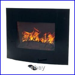 Northwest 80-EF455S Curved Glass Electric Fireplace Wall 32 Curved, Black