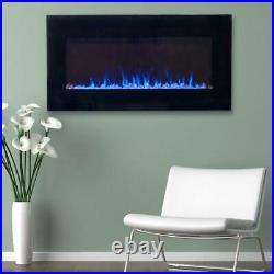Northwest Electric Fireplace Heater LED Black 2 Heat Sleek Glass Wall Mount Home