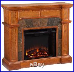 Oak Electric Corner or Flat Fireplace Mantle Fireplaces 45 Mantel Heater TV top