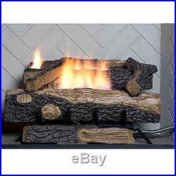 Oakwood Vent Free Propane Gas Fireplace Logs Fire Log Set Heat Thermostat, 24 in