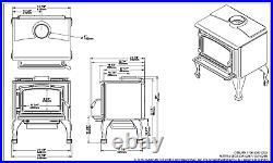 Osburn 1700 Wood Stove, 65,000 BTU, Black Legs, Black Door, Blower & Ash Pan