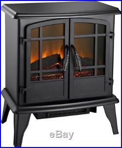 Pleasant Hearth Electric Stove Matte Black Freestanding 400 sq. Ft. Heated Area