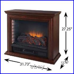 Pleasant Hearth Mobile Electric Fireplace Adjustable Thermostat Infrared Cherry