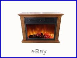 Portable Compact Mantel Infrared Electric Fireplace in Oak TV Stand Fire Place