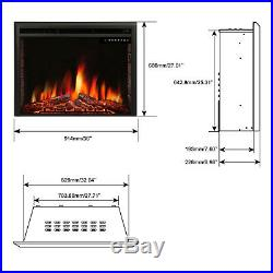 R. W. FLAME 36 inch Recessed Electric Fireplace Insert, Remote Control, 750W-1500W