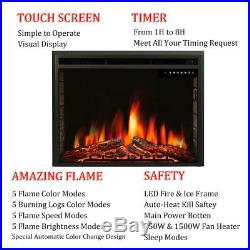 R. W. FLAME 36inch Recessed Electric Fireplace Insert, Remote Control, 750W-1500W