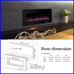 R. W. FLAME 42inch Recessed Electric Fireplace Heater, Remote Control, 750W-1500W