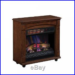 Rolling Electric Fireplace Mantel Houses 1,000 sq ft Heat Zone w Remote Control