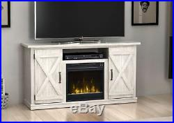 Rustic Gray Farmhouse Fireplace TV Stand Media Console Wood Entertainment Center