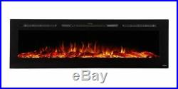 Sideline 72 Recessed Electric Fireplace with Heat Black