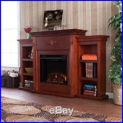 Southern Enterprises Fredricksburg Electric Fireplace with Bookcases in Mahogany
