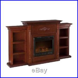 Southern Enterprises Tennyson Electric Fireplace with Bookcases Classic Mahogany