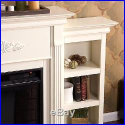 Southern Enterprises Tennyson Electric Fireplace with Bookcases, In Ivory FE8544