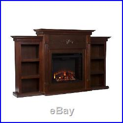 Southern Enterprises Tennyson Espresso Electric Fuel Fireplace with Bookcases NEW