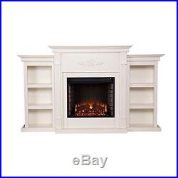 Southern Enterprises Tennyson Infrared Electric Fireplace withBookcases-Ivory NEW