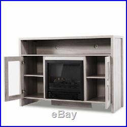 TV Stand Media Fireplace 43 Entertainment Storage Wood Console Electric Heater