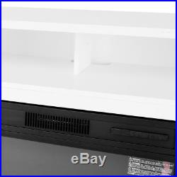 TV Stand Media Fireplace Entertainment Storage Wood Console Electric Heater