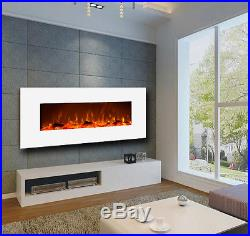Touchstone 50 Ivory wall-mount electric fireplace, white. Heat, simulated flame