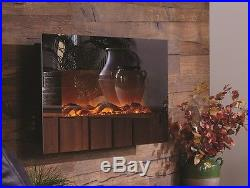 Touchstone 50 Mirror Onyx Wall Mount Electric Fireplace Heat Simulated Flame