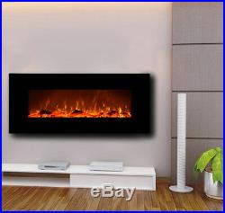 Touchstone 50 Onyx wall-mount electric fireplace, black. Heat, simulated flame