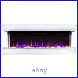 Touchstone 50'' White Electric Fireplace Chesmont Wall Mount Mantel 80033