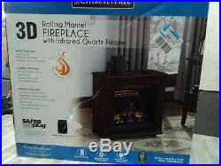 Traditional Portable Electric Mantel Fireplace Infrared Quartz Room Heater