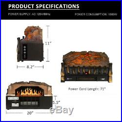 VIVOHOME 110V Electric Insert Log Fireplace Space Heater 3D Flame Remote Control