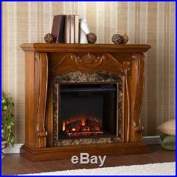 Victorian Style Electric Fireplace Lifelike Realistic Flames Walnut Faux Marble
