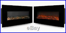 Wall Mount Electric Fireplace Large Black 50 Logs Glass Adjustable Heater 400sq
